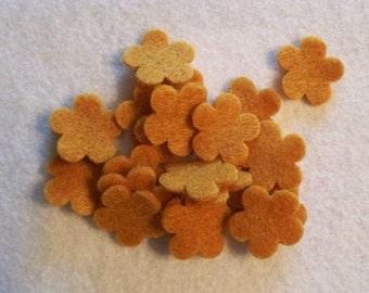 Die cut felt Tiny Flowers 30 pcs Goldenrod craft felt