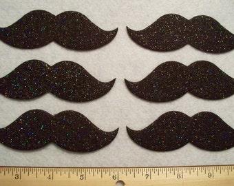 """4"""" Mustache stiff sparkle or plain  felt  black 6 pcs"""