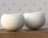 Ceramic candle holder, dandelion design. porcelain tea light Delight Collection - N.5 design by Wapa Studio.