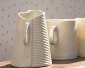 Porcelain creamer -  I walk the line collection. Modern ceramic coffee and tea service. Designed and crafted. by Wapa Studio.