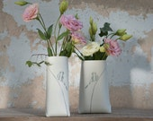 P-Sack. Porcelain Vase with A Gray Bird (tall and thin). Design by Wapa Studio