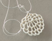 porcelain and silver necklace - Alice's flower. white ceramic pendant. Designed and created by Wapa Studio