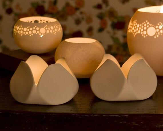 Reserved for becharper. Tulip - Porcelain Candle light Holder. Design by Wapa Studio