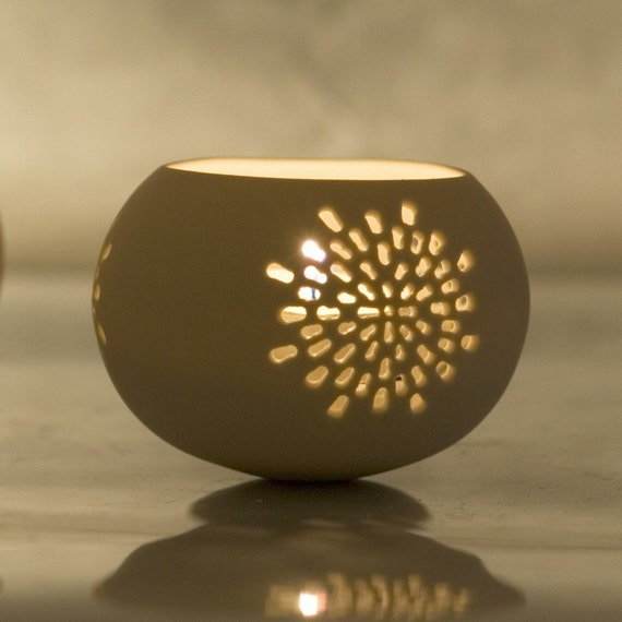 Porcelain Tea light Delight N.3. Mandala candle holder. Designed and crafted by Wapa Studio.