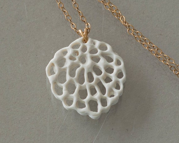 Alice's flower - porcelain and gold-filled necklace. Organic floral pendant. Designed and created by Wapa Studio