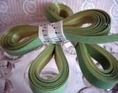 Vintage Mint Green Flocked Velvet Ribbon Destash 5 yds.