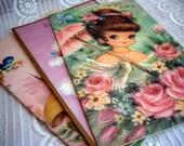 RESERVED 4 octobra. Vintage Set of 3 Greeting Cards. Poodle. Girl. Get Well. Birthday.