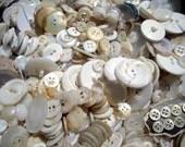 Vintage Jar of White Buttons. Destash. LAST ONE