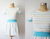 RESERVED  for Linda.   vintage. pinstripe. cotton candy. short sleeved. aqua and white summer dress. xsmall.