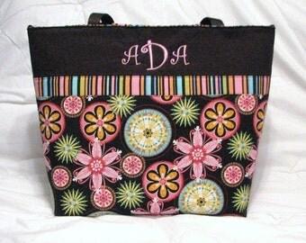 Personalized Diaper Bag tote . Weekender/XL size . Carnival Bloom Cha Cha Stripe . Monogrammed Teacher's Tote . Girl Diaper Bag