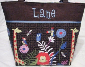 Personalized Diaper Bag . Jungle Jam and Blue . Weekender / XL size . monogrammed FREE . boy diaper bag . zoo diaper bag . safari