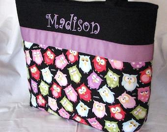 Personalized Diaper Bag . Sleepy Owls & Purple . Regular size . monogrammed FREE . girl diaper bag . dance bag . little girl tote