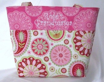 Personalized Diaper Bag Tote . Michael Miller Gypsy Paisley . Regular size monogrammed FREE .  girl diaper bag . dance bag . knitting bag