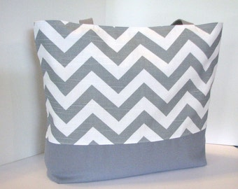 Set of 8 Chevron Totes . Gray White or Design Your Own . Standard size Chevron Beach Bag . great bridesmaid gifts MONOGRAMMING Available