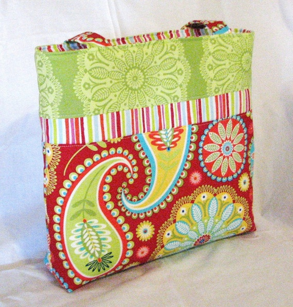 the Maggie handbag tote diaper bag in  Michael Miller Gypsy Paisley red.....small tote . READY to SHIP