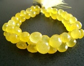 1/2 STRAND--Sunshine Yellow Chalcedony Faceted Onion Briolettes---REDUCED FROM 28.99