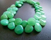 1/2 Strand-- Apple Green Chrysoprase Smooth Heart Briolettes