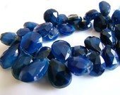 New---1/2 STRAND---Dark Blue African Opal Faceted Pear Briolettes