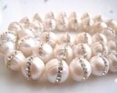 1/2 Strand-- Amazing Inlaid Pave-Creamy White Freshwater Pearls