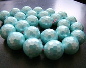 1/2 Strand---SeaFoam Green MOP Disco Faceted Round Beads