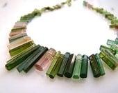 1/2 Strand---AAA Watermelon Green Tourmaline Crystal Tip Drilled Beads