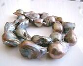 1/2 Strand---Large Platinum Gray Rainbow Baroque Freshwater Pearls