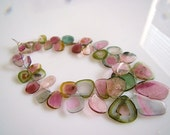 1/2 Strand---Watermelon Tourmaline Transparent Smooth and Polished Slices Briolettes--Number 3