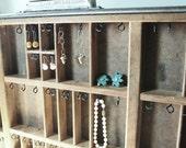 Antique Printer Tray Jewelry Rack