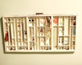 White distressed Printers drawer jewelry display