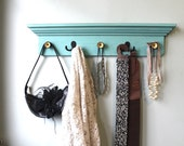 SALE ... Aqua distressed Coat Rack Shelf