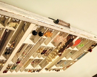Printers Drawer Jewelry Display White distressed