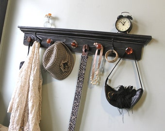 Black and orange distressed Coat Rack Shelf
