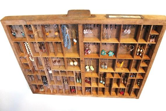 Antique Printer Tray Jewelry Rack Medium size