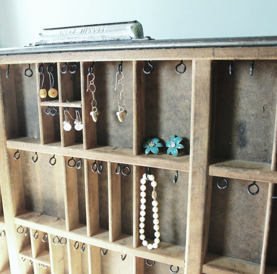 Antique printers typeset drawer for jewelry