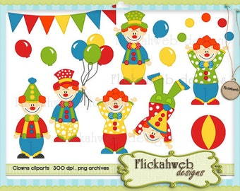 clowns clipart scrapbook graphics Commerical Use for paper crafts instant download