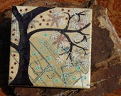 Original pattern collage altered art on canvas by Redstreake