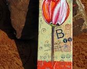 Original Tulip flower pattern collage altered art on canvas by Redstreake