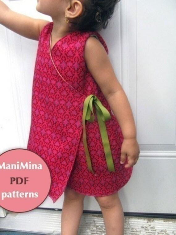 Reversible kimono dress- Instant download-PDF pattern-12m to 4T