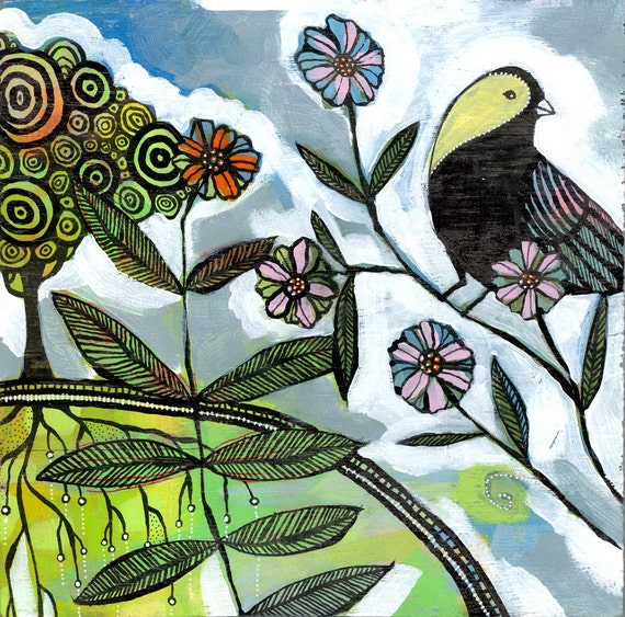 ARCHIVAL PRINT the ever observant bird