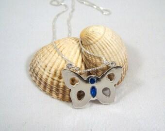 Birthstone Butterfly - Custom Fine Silver Pendant with Birthstones