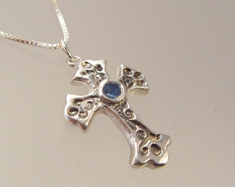 Small fine silver cross with a 3mm gemstone
