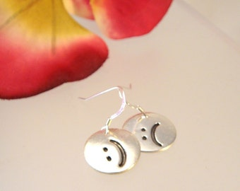 Emoticon fine silver charm earrings - choose any two.