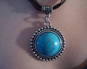 Turquoise Pendant ribbon necklace