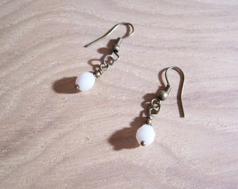 White Bead Earring with Antique Brass findings