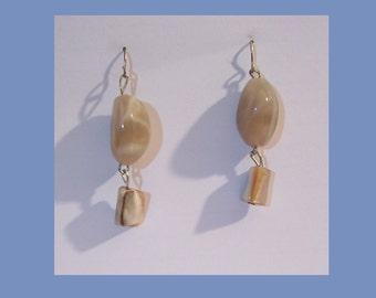 Earrings - Brown and beige marbleized stone