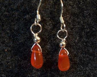 Sterling Silver Carnelian Teardrop Earrings
