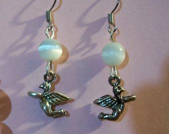 Earrings - Old world cherubs with white cats eye beads