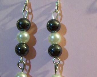Hematite and Pearl Dangle Earrings