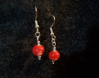 Red Round Fruit Stripe earrings