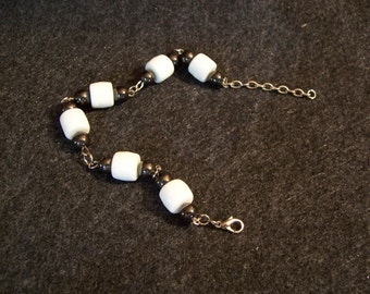 Magnetic Hematic and  White Milk beads Bracelet